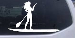 Stand Up Paddleboard With Woman Girl Car Or Truck Window Decal Sticker Rad Dezigns