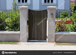 Modern Metal Entrance Doors Mounted Concrete Poles Surrounded Narrow Metal Stock Photo C Hecos 336277726