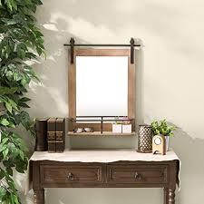 wood framed wall mount barn door vanity