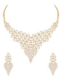 Gold Plated Diamond Look Necklace Set Inspired By Peacock Plumage | VOYLLA  Fashions