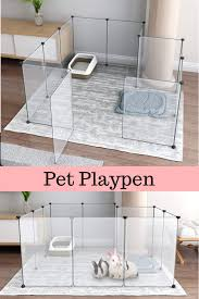 Portable Large Clear Plastic Dog Playpen Yard Fence Kennel For Small Animals New