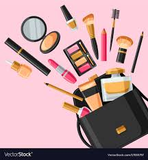 skincare and makeup out of bag vector image