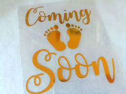 Pregnancy Iron On Decal Coming Soon Patch Baby Feet Mommy Etsy