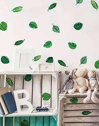 Amazon Com Stickerbrand Set Of 48 Tropical Plant Leaves Wall Decal Hawaiian Party Beach Theme Decor Great For Birthdays Prom Wedding Events 6094m Home Kitchen