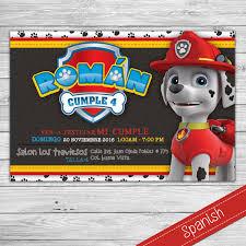 Invitacion Paw Patrol Patrulla De Cachorros Marshall