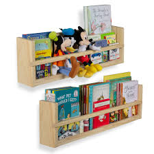 Amazon Com Nursery Decor Wall Shelves 2 Shelf Set Wood Floating Bookshelves For Baby Kids Room Book Organizer Storage Ledge Display Holder For Toys Cds Spice Rack Ships Assembled
