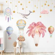 Super Sale 72b9 Nordic Feather Hot Air Balloon Wall Stickers For Living Room Kids Rooms Wall Decor Removable Vinyl Dreamcatcher Diy Wall Decals Cicig Co