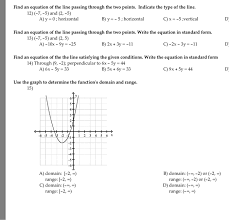 find an equation of the line passing