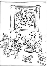 Sint En Piet Zwaaien Naar De Kinderen Sinterklaas Kleurplaten