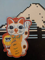 Atl Beckoning Cat Maneki Neko Die Cut Vinyl Sticker 3x4 Etsy