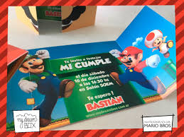 Tarjetas Invitacion Solapa Evento Cumple Super Mario Bros 371