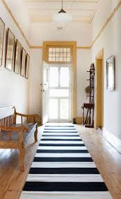 cozy modern black striped hallway
