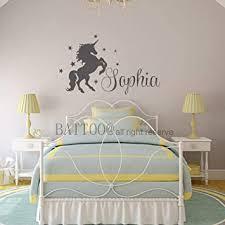Amazon Com Personalised Unicorn Wall Art Custom Name Baby Room Wall Decal Unicorn Pony Vinyl Decal Stars Nursery Wall Art Plus Free Hello Door Decal 28 Wide 16 5 Tall Baby