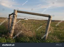 Barbed Wire Fence Corner Posts Framing Stock Photo Edit Now 1333551