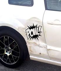 Amazon Com Funny Car Accident Dent Fix Pow Decal Vinyl Hitting Cars Truck Window Sticker Batman Car Car Dent Fix In Fixer Repair And Scratches Cost Door Near Me Scratch How To