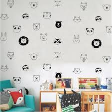 Lion Head Tiger Head Bear Head Fox Head Pvc Wall Sticker Vinyl Kids Room Home Decor Stickers Mural Wall Decal Wall Stickers Aliexpress
