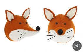 Fox Head Wall Trophy Wall Decors For Kids Room Felt Animal Heads By Fiona Walker
