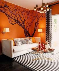 15 Interesting Summer Interiors Dreamer Attraction Orange Decor Tree Wall Decal Decor