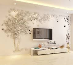 N Sunforest 3d Crystal Acrylic Couple Tree Wall Stickers Silver Self Adhesive Diy Wall Murals Home Decor Art Acrylic Wall Decor Tree Wall Decal Wall Murals Diy