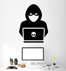 Vinyl Wall Decal Computer Hacker Programmer Skull Stickers 2342ig Wallstickers4you