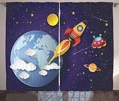 Amazon Com Ambesonne Outer Space Curtains Rocket On Planetary System With Earth Stars Ufo Saturn Sun Galaxy Boys Print Living Room Bedroom Window Drapes 2 Panel Set 108 X 84 Indigo White Home