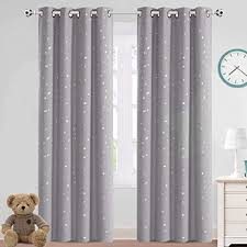 Amazon Com Blackout Kids Curtains For Bedroom Thermal Insulated Silver Twinkle Star Curtains For Boys Girls Antique Grommet Top Window Treatment 2 Panels Drapes For Nursery Soft Thick 52 W X 84 L Grey Furniture