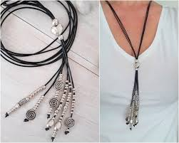 long leather tassel necklace for women