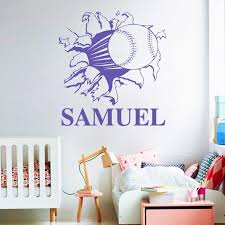 Custom Name Baseball Softball Through Wall Decal Sticker Home Decor Tiptophomedecor