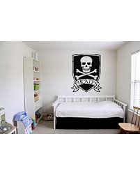 Pirates Only Skull Crossbones Vinyl Wall Art Sticker Sign For Boy Bedroom Door