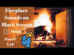 3 hours fireplace sound on black screen