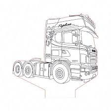 Scania Truck 2 3d Illusion Lamp Plan Vector File For Cnc 3bee