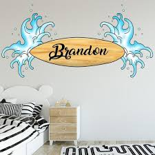 Custom Name Decal Surferboard Wall Sticker Personalized Etsy