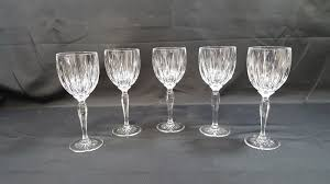 set of 5 tall stem crystal wine glasses