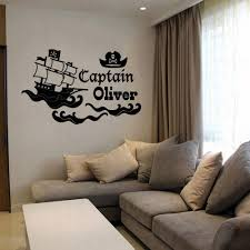 Personalised Pirate Ship Vinyl Wall Art Sticker Mural Custom Name Kid Room Wallpapers Wl1958 Leather Bag