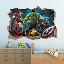 3d Marvel Avengers Hole In Wall Sticker Art Decal Decor Kids Bedroom Decoration 3 49 Picclick Uk