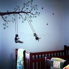 Children Playroom Wall Decals Swing Wall Decal Boys Girls Room Decors Tree Branch Stickers Children Play Playroom Wall Decals Kids Wall Decor Kids Room Decals
