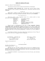 deed of motor vehicle sle