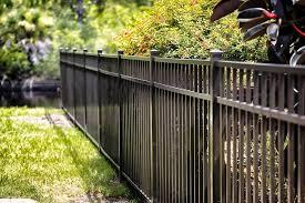 New Aluminum Fencing Separating Backyard Of Two Neighbors Aluminum Fence Iron Fence Vinyl Fence