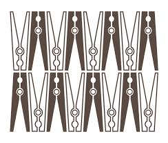 Laundry Clothes Pins Wall Art Decal