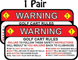 Club Car Ezgo Warning Golf Cart Rules Funny Decal Sticker Etsy