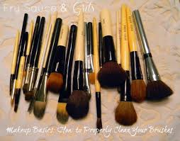 washing your makeup brushes with baby