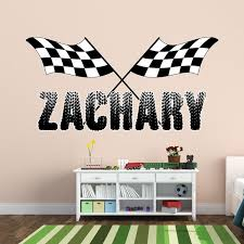 Vwaq Checkered Flags With Personalized Name Wall Decal Racing Room Decor Walmart Com Walmart Com