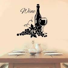 Wine With Grapes Vinyl Wall Decal Sticker Kitchen Decor Vineyard Cute Decoration Ebay