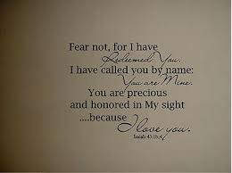 Isaiah 43 Bible Quote Verse Vinyl Wall Decal Fear Not For I Have Redeemed You Ebay