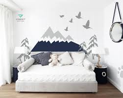 Mountains Wall Decal Nursery Woodland Decor Headboard Removable Baby Kids Room Decal Self Adhesive Sticker Navy Pattern Decor Mountains027 Mountain Wall Decal Nursery Nursery Wall Decals Kids Room Decals
