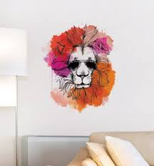 Summer Hipster Lion Wall Sticker Decal Illustration Wall Etsy