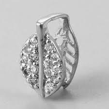 925 sterling silver cz leaf pinch bails