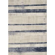 medium beige and blue striped area rug