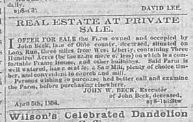 Land for sale from John Wesley Beck, 1856. - Newspapers.com
