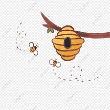 Linda Colmena De Abejas Marrones Ilustracion Pequeno Fresco